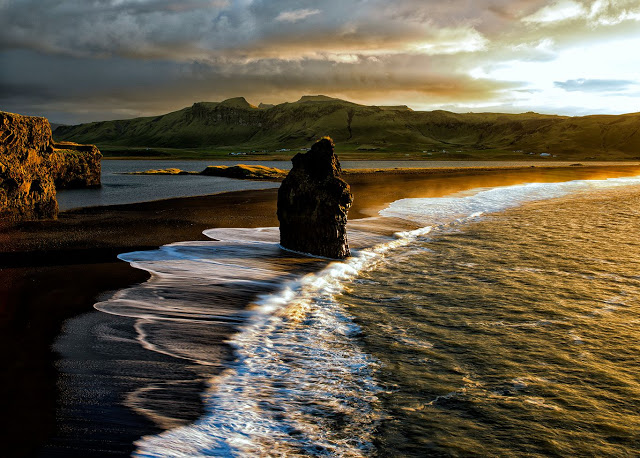 soloppgang på Dyrholey Island