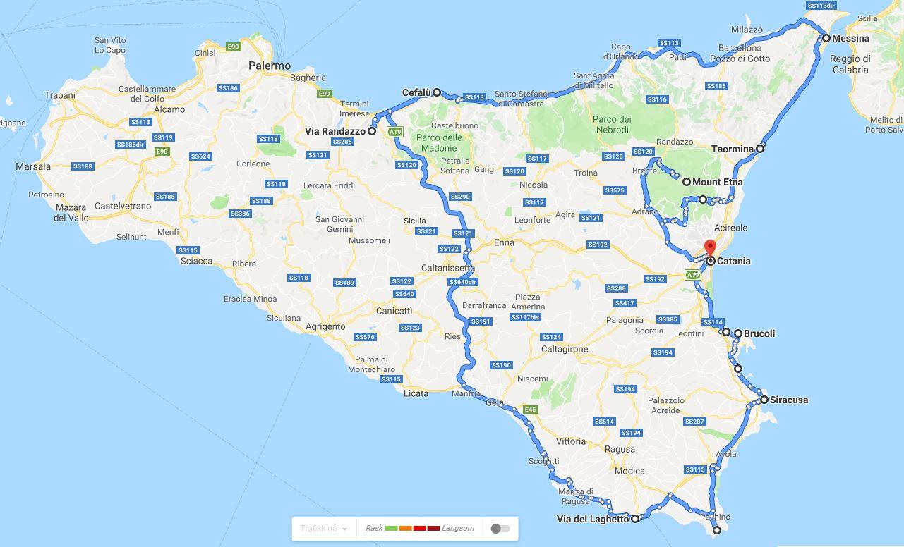 forslag til reiserute på Sicilia