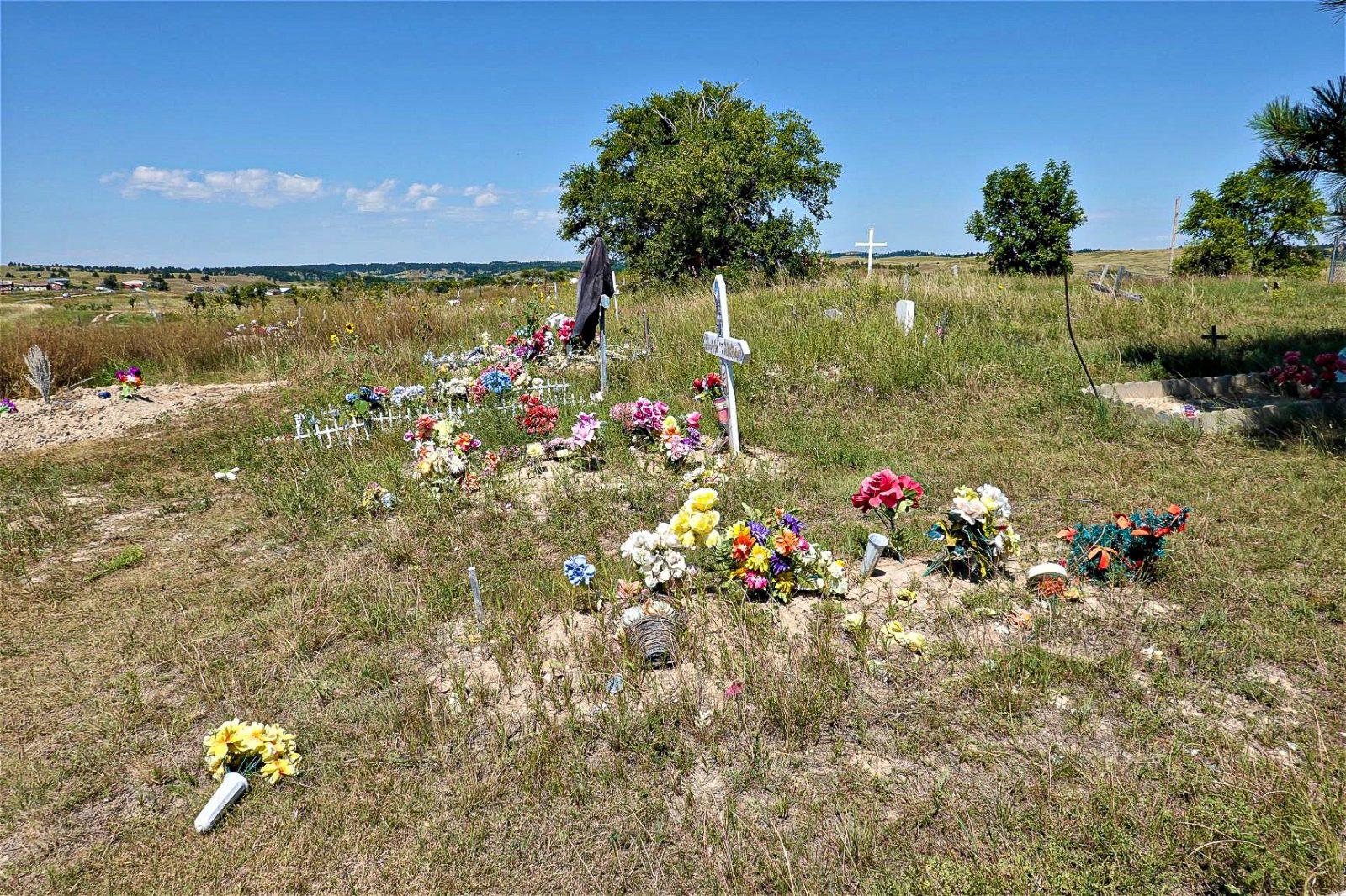 kirkegården på wounded knee for indianerne