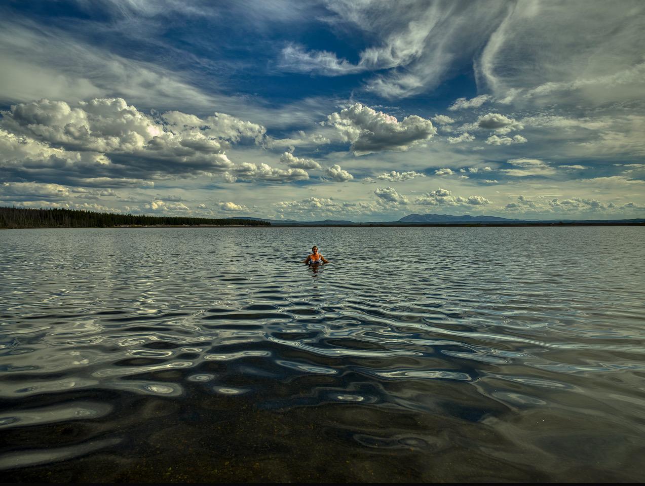 bading i yellowstone lake