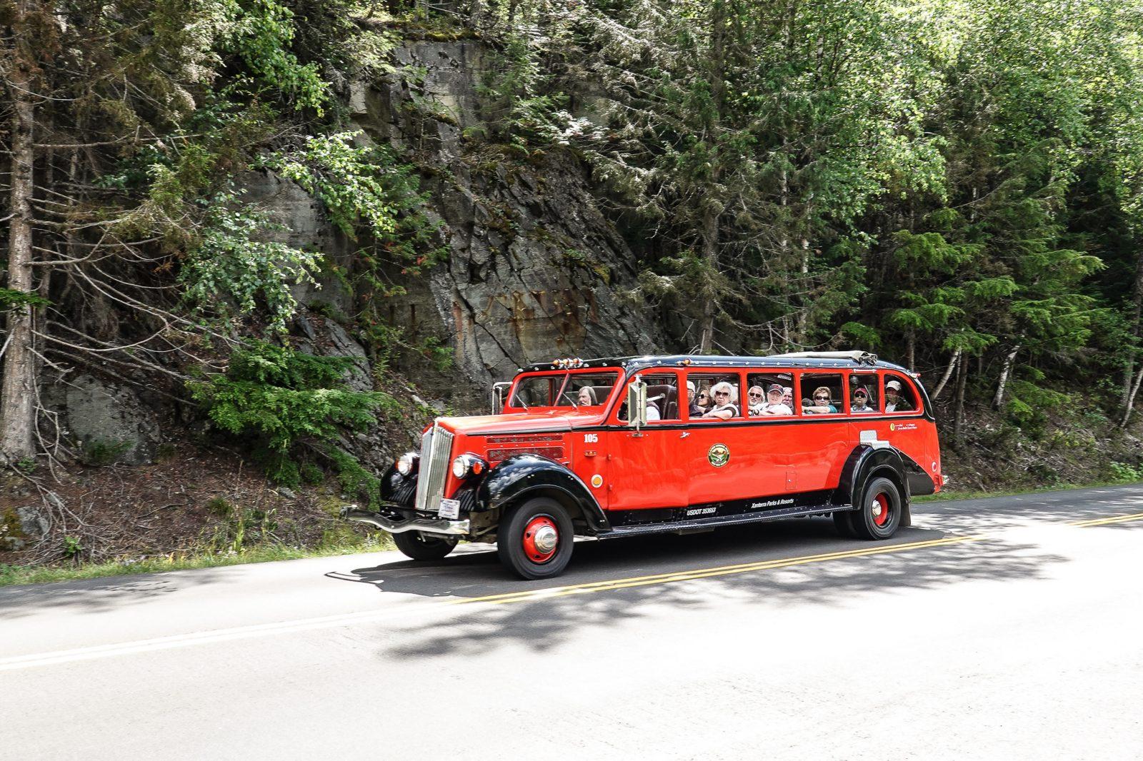 buss til toppen av Glacier nationalpark